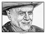 R Drawings Prints - Larry Hagman in 2011 Print by J McCombie