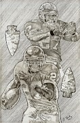 Pro Football Drawings Posters - Larry Johnson Poster by Jonathan Tooley
