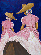 Mexican Art Painting Originals - Las Charras Rosadas by Pat Haley