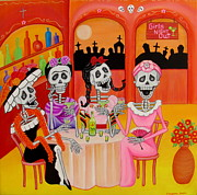 Cantina Paintings - Las Comadres by Evangelina Portillo