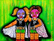 Fighters Mixed Media Prints - Las Luchadoras - The Wrestler Girls -Art by Karina Gomez Print by Laura and Karina Gomez
