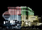 Las Vegas Artist Metal Prints - Las Vegas at Night Fusion Metal Print by John Rizzuto