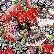 Chip Mixed Media Prints - Las Vegas Icons Print by Gravityx Designs