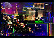 Hotels Mixed Media Posters - Las Vegas igniting your Fire Poster by Christine Mayfield
