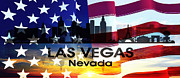 Las Vegas Mixed Media Posters - Las Vegas NV Patriotic Large Cityscape Poster by Angelina Vick
