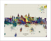 Boston Skyline Paintings - Las Vegas Skyline by WaterColorMaps Chris and Mary Ann