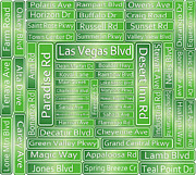 Viva Las Vegas Framed Prints - Las Vegas Street Road Signs  Framed Print by Gravityx Designs