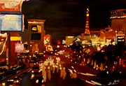 Night Paintings - Las Vegas Strip at Night with Neon Advertising I by M Bleichner