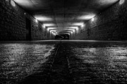 Long Street Framed Prints - LaSalle Drive Tunnel Monochrome Framed Print by Randy Scherkenbach