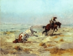 Charles M Russell - Lassoning a Steer