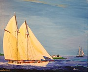 Massachusetts Drawings Posters - Last Cruise of Sch. Arethusa Poster by Bill Hubbard