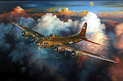 Bomber Drawings - Last Flight For Nine-O-Nine by Randy Green