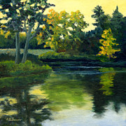 Kendall Originals - Last Light at Kendall Pond by Elaine Farmer