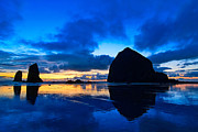 Jamie Pham Metal Prints - Last Light - Cannon Beach Sunset with reflection in Oregon the Coast Metal Print by Jamie Pham