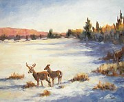 Sporting Art Prints - Last Light Deer Print by Robert Stump