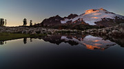 Mount Rushmore Photos - Last Light Mount Baker by Mike Reid