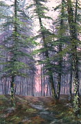 Woodpeckers Paintings - Last Light on Cannock Chase by Jean Walker