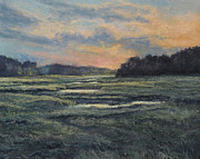 Gregory Arnett Painting Framed Prints - Last Light on the Marsh - Wellfleet Framed Print by Gregory Arnett