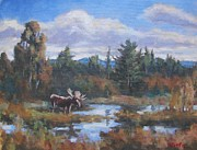 Sporting Art Originals - Last Light On The Moose by Robert Stump