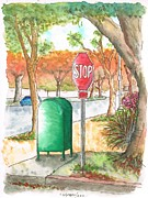 Stop Sign Painting Framed Prints - Last mailbox in Beverly Hills - California Framed Print by Carlos G Groppa