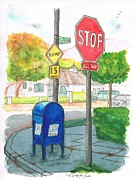 Cards Vintage Painting Prints - Last mailbox in Toluca Lake - California Print by Carlos G Groppa