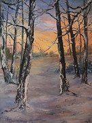 Mountain Biking Paintings - Last of the Sun by Jean Walker