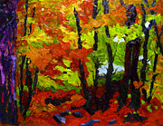 Woods Painting Originals - Last Reds by Charlie Spear