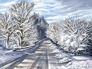 Winter Digital Art Metal Prints - Last snow series n1 Metal Print by Veronica Minozzi