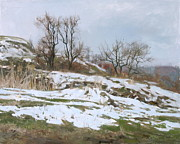 Winter Landscape Paintings - Last snow by Victoria Kharchenko