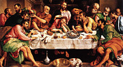 Last Supper Mixed Media Posters - Last Supper Poster by Jacopo Bassano