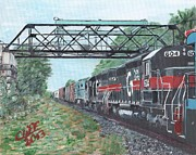 Railroads Paintings - Last Train Under the Bridge by Cliff Wilson