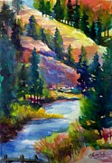 Last View Of The Truckee  Original Sold Print by Therese Fowler-Bailey