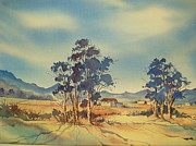 Conditions Painting Posters - Late Afternoon Bluegums and Farmhouse Poster by Marion Langton
