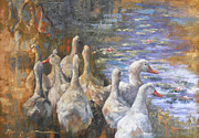 Geese Paintings - Late Afternoon Geese by Tanya Jansen