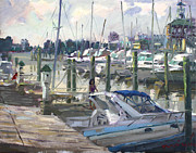Norfolk; Paintings - Late Afternoon in Virginia Harbor by Ylli Haruni