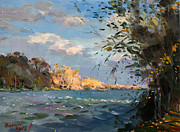 Falls Painting Originals - Late Afternoon on Goat Island by Ylli Haruni