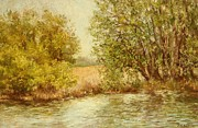 River Scenes Pastels Prints - Late Afternoon on the Grand Print by Barbara Smeaton