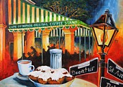 Oil Lamp Painting Framed Prints - Late at Cafe Du Monde Framed Print by Diane Millsap