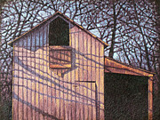 Abandoned Buildings Painting Framed Prints - Late Day Shadows of September Barn #1 Framed Print by Hollie Reilly
