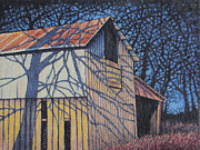 Abandoned Buildings Painting Framed Prints - Late Day Shadows of September Barn #2 Framed Print by Hollie Reilly