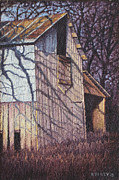 Old Barn Paintings - Late Day Shadows of September Old Barn by Hollie Reilly