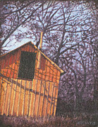 Shed Paintings - Late Day Shadows of September Red Shed by Hollie Reilly