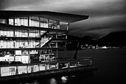 Burrard Inlet Prints - late evening at the Vancouver convention centre west building on burrard inlet BC Canada Print by Joe Fox