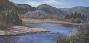 Poudre River Painting Prints - Late Fall On The Poudre Print by Bev Finger
