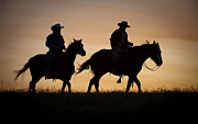 Cowboys Prints - Late For Supper Print by Sandra Bronstein