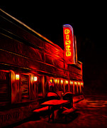 Road Travel Posters - Late Night Diner Poster by Brian Mollenkopf