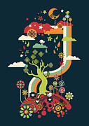 Rainbow Digital Art Metal Prints - Late night party Metal Print by Budi Satria Kwan