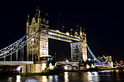 Old Tower Prints - Late night Tower Bridge Print by Elena Elisseeva