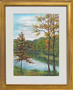 Landmarks Pastels Originals - Late October at Clopper Lake Gaithersburg MD by Nancy Heindl
