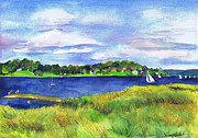 Long Island Paintings - Late Summer Marsh Oyster Bay by Susan Herbst